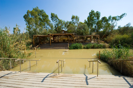 baptism of jesus: Baptismal site Qasr el Yahud on the Jordan river near Yericho is according to the bible the place where Jesus Christ is being baptized by John the baptist