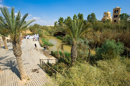 baptized: YERICHO, ISRAEL - OCT 15, 2014: Baptismal site Qasr el Yahud on the Jordan river near Yericho is according to the bible the place where Jesus Christ is being baptized by John the baptist