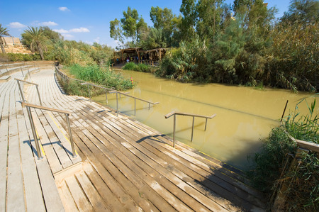 baptized: Baptismal site Qasr el Yahud on the Jordan river near Yericho is according to the bible the place where Jesus Christ is being baptized by John the baptist