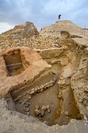 jewish town: Old ruins and remains in Tell es-Sultan better known as Jericho the oldest city in the world Stock Photo