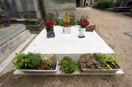gilbert: PARIS, FRANCE - JULY 27, 2015: Grave of the singer and star Gilbert Becaud on cemetery Pere Lachaise in Paris in France.
