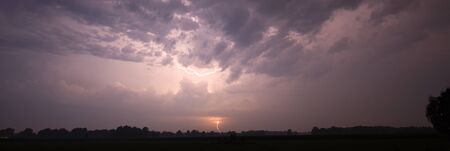 sky cloud: Thunder and lightning at the end of a hot and moistly summer day in the Netherlands