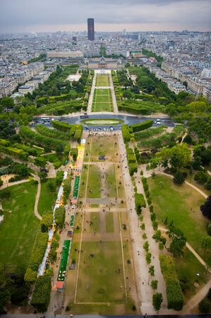 champ: View from the Eiffel Tower over Champ de Mars in Paris Stock Photo