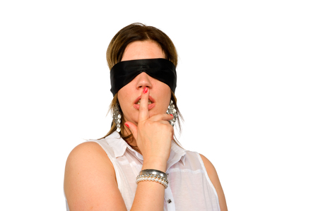 romantic sex: A woman with a blindfold for her eyes Stock Photo