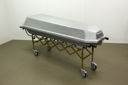 pass away: A coffin to transport a dead body in a morgue