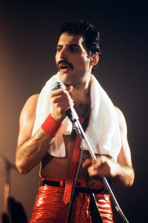 LEIDEN, THE NETHERLANDS - NOV 27, 1980: Freddy Mercury singer of the british band Queen during a concert in the Groenoordhallen in Leiden in the Netherlands