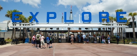 cape canaveral: KENNEDY SPACE CENTER, FLORIDA, USA - APRIL 27, 2016: The entrance of the visitor complex of Kennedy Space Center near Cape Canaveral in Florida Editorial