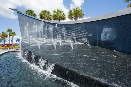 cape canaveral: KENNEDY SPACE CENTER, FLORIDA, USA - APRIL 27, 2016: John F. Kennedy memorial at the entrance of the visitor complex of Kennedy Space Center near Cape Canaveral in Florida