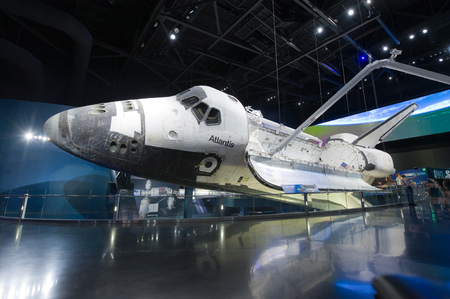 cape canaveral: KENNEDY SPACE CENTER, FLORIDA, USA - APRIL 27, 2016: Space Shuttle Atlantis which is exhibited at the visitor complex of Kennedy Space Center