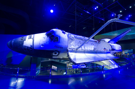 KENNEDY SPACE CENTER, FLORIDA, USA - APRIL 27, 2016: Space Shuttle Atlantis which is exhibited at the visitor complex of Kennedy Space Center