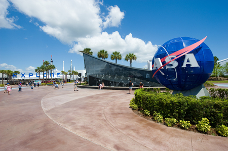 Kennedy: KENNEDY SPACE CENTER, FLORIDA, USA - APRIL 27, 2016: The entrance of the visitor complex of Kennedy Space Center near Cape Canaveral in Florida Editorial