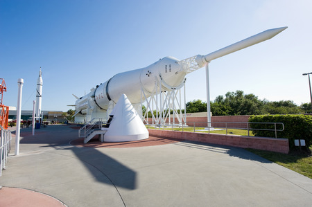 cape canaveral: KENNEDY SPACE CENTER, FLORIDA, USA - APRIL 27, 2016: Several rockets are exhibited in rocket garden in the visitor complex of Kennedy Space Center near Cape Canaveral in Florida