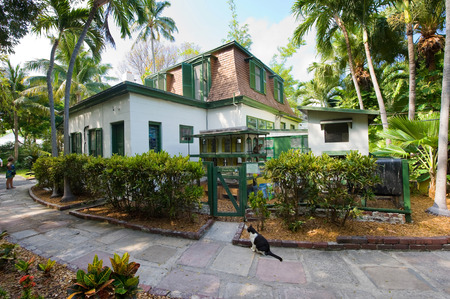 KEY WEST, FLORIDA, USA - MAY 03, 2016: Building where Ernest Hemingway worked on the compound of the Hemingway House in Key West in Florida. Editorial