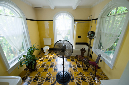 KEY WEST, FLORIDA, USA - MAY 03, 2016: Bath room in the Hemingway House in Key West in Florida.