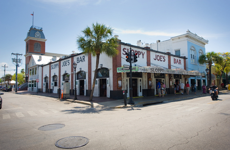 sloppy: KEY WEST, FLORIDA, USA - MAY 02, 2016: Sloppy Joes Bar in the twilight in Duval street in the center of Key West
