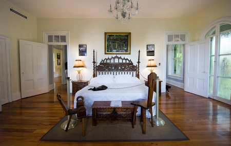 ernest: KEY WEST, FLORIDA, USA - MAY 03, 2016: Sleeping room of Ernest Hemingway in the Hemingway House in Key West in Florida.