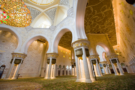 Interior of the Sheikh Zayed Mosque in Abu Dhabi. It is the largest mosque in the country. Editorial