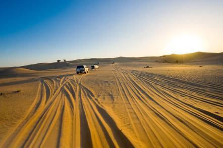 Four wheel drive through the desert in the United Arab Emirates.