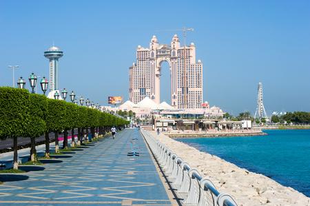 ABU DHABI, UNITED ARAB EMIRATES - DEC 30, 2017: Corniche boulevard along the coastline in Abu Dhabi. Editorial