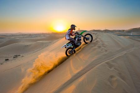 ABU DHABI, UNITED ARAB EMIRATES - JAN 01, 2018: Four wheel drive through the desert in the United Arab Emirates. 에디토리얼