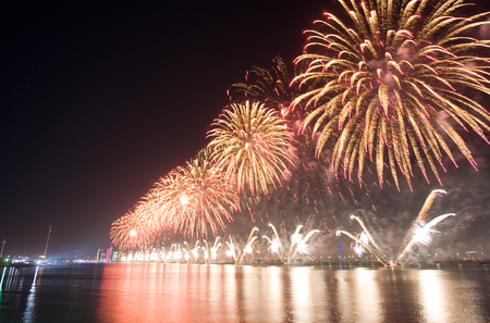 Fireworks show on new years eve 01-01-2018 in the bay of Abu Dhabi in the United Arab Emirates.