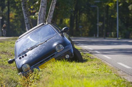 A car had driven into a ditch