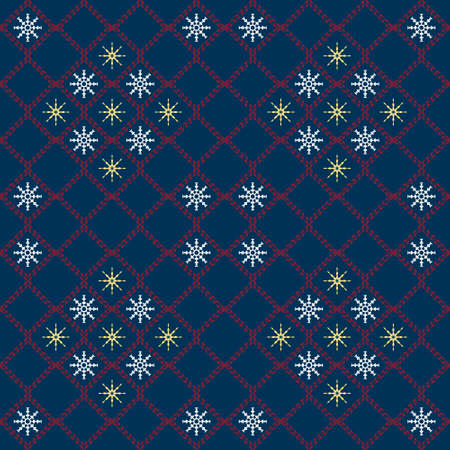 Winter seamless ornament of snowflakes and lattice of twisted squares
