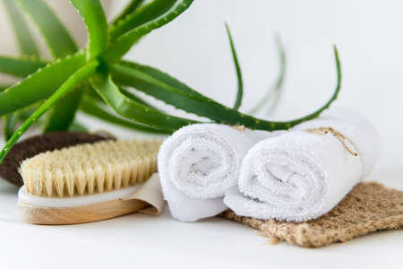 Skin care at home. Eco-friendly bath and spa accessories. Фото со стока