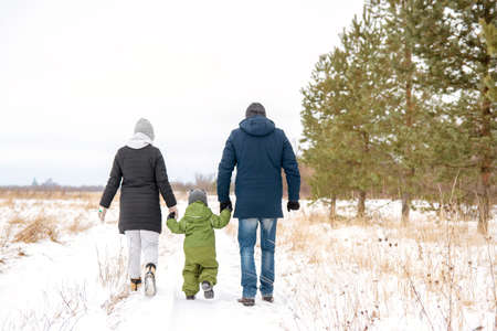 A family walk in winter through the park. Family dad, mom and baby go for the hand
