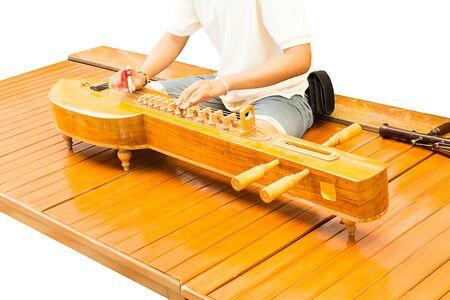 thai musical instrument: Men Playing Thai classical zither instrument, Thai musical instrument