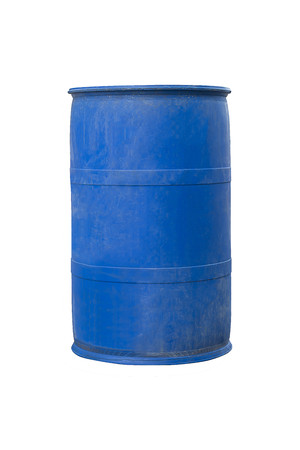 Tanque plástico azul velho, tambores plásticos azuis que contêm produtos químicos Foto de archivo - 90224310