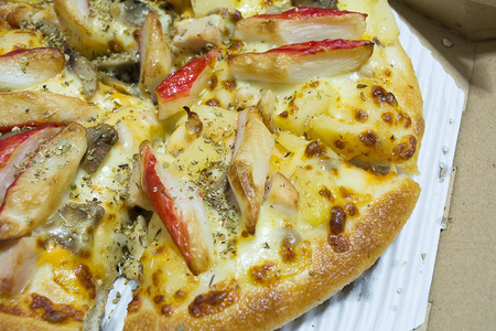 Crab Stick Pizza and Good smell of smoked chicken.