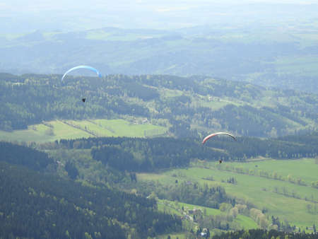 paraglide: Flying on paraglide Stock Photo