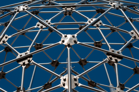 Modern Art, hexagon sphere, steel construction Фото со стока