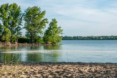 river, beach and trees