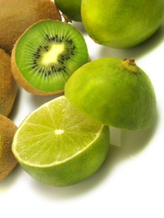 Fresh kiwis and limes isolated on white background Stock Photo - 3241764