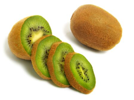 Sliced and whole fresh ripe kiwi isolated on white background