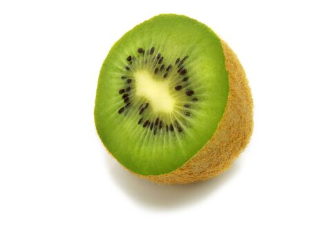 A single fresh ripe half kiwi isolated on white background Stock Photo - 3258688