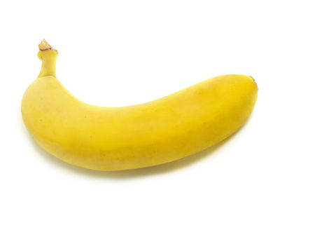 A single fresh ripe banana isolated on white background