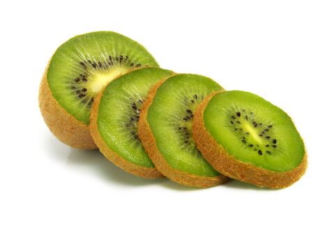 Sliced fresh ripe kiwi isolated on white background