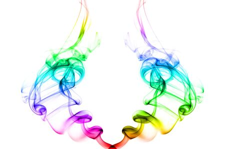 Two vivid colorful waves of smoke forming a couple on white background