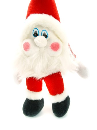 Closeup photo of a sweet stuffed Christmas Santa Claus toy hanging. Isolated on white.