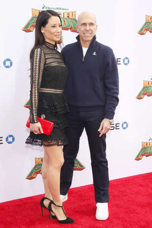 jeffrey: Lucy Liu and Jeffrey Katzenberg at the Los Angeles premiere of Kung Fu Panda 3 held at the TCL Chinese Theater in Hollywood, USA on January 16, 2016.