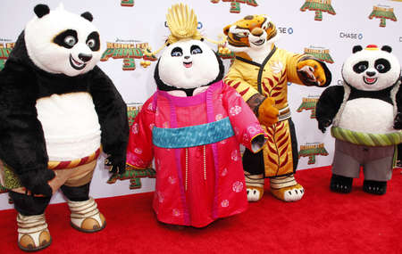 tigresa: Po, Mei Mei, Tigress and Bao at the Los Angeles premiere of Kung Fu Panda 3 held at the TCL Chinese Theater in Hollywood, USA on January 16, 2016.