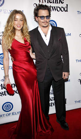 culver city: Amber Heard and Johnny Depp at the Art Of Elysiums 9th Annual Heaven Gala held at the 3LABS in Culver City, USA on January 9, 2016.