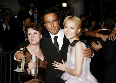 golden globe: Adriana Barraza, Alejandro Gonzalez Inarritu and Rinko Kikuchi attend the 2007 Paramount Pictures Golden Globe Award After-Party held at the Beverly Hilton Hotel in Beverly Hills, California, on January 15, 2007. Editorial