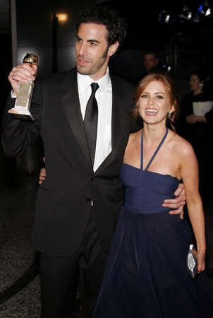 golden globe: Sacha Baron Cohen and Isla Fisher attend the 2007 Paramount Pictures Golden Globe Award After-Party held at the Beverly Hilton Hotel in Beverly Hills, California, on January 15, 2007.