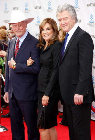 linda: Larry Hagman, Linda Gray and Patrick Duffy at the 2012 TCM Classic Film Festival Gala Screening of Cabaret held at the Graumans Chinese Theater in Hollywood on April 12, 2012. Editorial