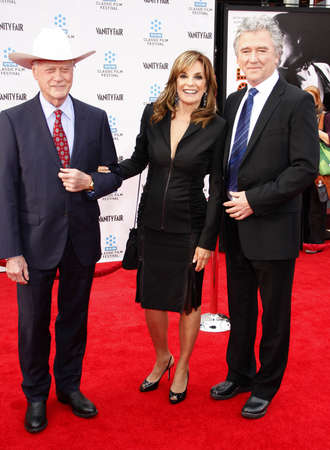linda: Larry Hagman, Linda Gray and Patrick Duffy at the 2012 TCM Classic Film Festival Opening Night Gala of Cabaret held at the Graumans Chinese Theater in Los Angeles on April 12, 2012.
