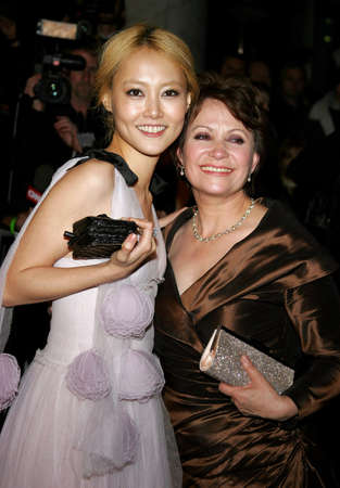 golden globe: Adriana Barraza and Rinko Kikuchi attend the 2007 Paramount Pictures Golden Globe Award After-Party held at the Beverly Hilton Hotel in Beverly Hills, California, on January 15, 2007.